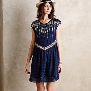 One September Calliope Embroidered Swing Dress Nav